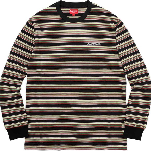 ba24b33dffd1 Supreme Multi Stripe L S Top Black - Medium